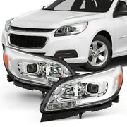 For 13-15 Chevy Malibu Led Neon Tube Drl Projector Headlight Chrome Driving Lamp