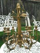 Rare Antique 🌸 Romantic Gold Gilt French Empire Chandelier W/ Flowers And Leaves