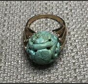 Vintage Chinese Turquoise Carved Bead Ring Set In 14k Yellow Gold Finger Size 8