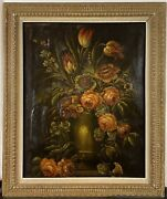 Large Antique 18th C. European Old Master Still Life Flowers Vase Oil Painting