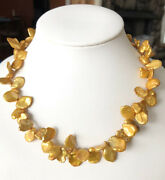 Lucoral Golden Baroque Keshi Cultured Pearl Necklace Sterling Clasp Nwt