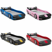 Turbo Race Car Twin Size Molded Frame Bed Kids Bedroom Furniture Four Colors New