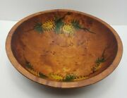 Vintage Rustic Woodcroftery Wooden Oblong Bowl Hand Painted Pinecone Design
