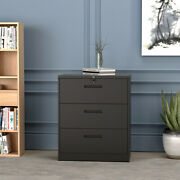 3 Drawer Lateral File Cabinet Lockable Heavy Duty Metal Filing Cabinets Black