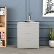 3 Drawer Lateral File Cabinet Lockable Heavy Duty Metal Filing Cabinets White