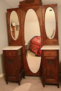 Antique Solid Oak Vanity W/full-length Trifold Mirror