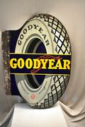 Vintage Good Year Tire Sign Board Porcelain Enamel Die Cut Flanged Double Sided