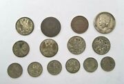 Russia Lot Of 14 Silver And Copper Coins From 1875-1912
