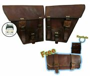 Saddlebags Motorcycle 2 Side Brown Leather Side Pouch Saddle Panniers 2 Bags Men