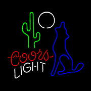 Real Glass Display Neon Signs Coors Light Catcus Wolf Moon 19x15