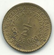 High Grade Unc 1964 Peru 1/2 Sol De Oro Doubling And Obverse Die Clashes -may675