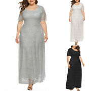 Women's Lace Crew Neck Dresses Formal Wedding Cocktail Evening Party Swing Dress