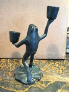 Bronze Andnbspfrog Candlestick On Lily Pad Andnbspfrom Woodstock Ny Exc Condition 7 Tallandnbsp