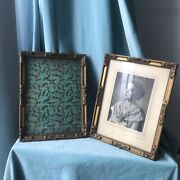 """Pair Antique Wood Gesso Victorian French Frames Carved Gilt Picture Gold 11"""""""