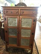 Vintage Andldquoreproductionandrdquo Of 1800andrsquos Antique Pie Safe With 6 Punched Tin Panels