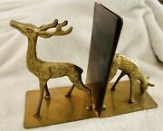Vintage Solid Brass Deer Bookends 70-80s Cabin Forest Farmhouse