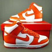 Nike Dunk High Orange Blaze Skate Shoes Mens Size 8 Athletic Basketball White