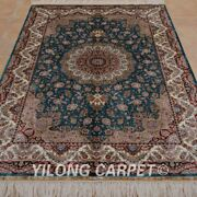 Yilong 4and039x6and039 Handknotted Silk Carpet Blue Home Decor Luxury Oriental Rug 0622
