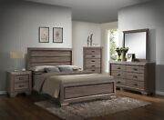 Antique Rustic Finish King Size 4pc Bedroom Set Bed Dresser Mirror Nightstand