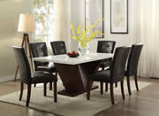 Acme Furniture Forbes 7 Piece White Marble Top Dining Room Set