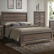 1pc Antique Brown Finish King Size Bed Contemporary Rustic Headboard Footboard