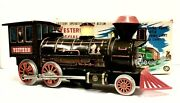 Rare Battery Operated Mystery Action Brown Western Special Locomotive Tin Train