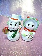 Rare Vtg Napco Christmas Miniature Mr And Mrs Snowman Green Red Couple Figurines