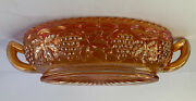 Imperial Marigold Carnival Glass Handled Oval Pickle 1940's