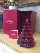 """Waterford Crystal Red Christmas Tree With Box 6.5""""h"""