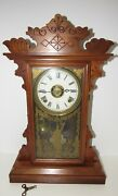 Antique E.n. Welch Linda Kitchen Clock With Alarm 8-day, Time/gong Strike