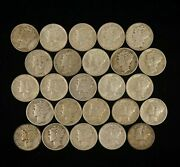 25 Half Roll Of Mixed Date 10c Mercury Dimes - Free Shipping Usa