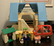 Little Tikes Blue Roof Doll House With Family And Car And Much More