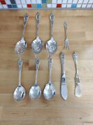 Antique Wallace Rose Point Sterling Silverware 1934 Lot Of 9 Pieces