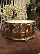 Ludwig Bronze Smooth 1980s B/o Badge Snare Drum Showing Gorgeous Copper Inside