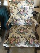 Vintage Louis Xv Armchair Studded Flower Tapestry Carved Arms/legs Impressive