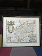 Saxtons Map Of Warwickshire And Leicestershire Taylowe 1959. Framed And Glazed.
