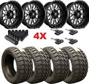 20 Fuel Stroke Gloss Black Milled Wheels Rims 33 12.50 20 Tires Mt F-150