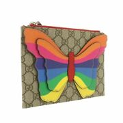 Clutch Bag Porch Gg Supreme Butterfly 550781 Secondhand Rainbow Brown