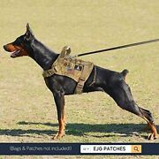 Military Tactical Molle Dog Harness Large Dogs Service Vest Harness And Pouch Bag