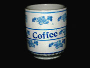 Rare Blue And White Stenciled Grape Vintage Coffee Canister Stoneware Hull Ohio