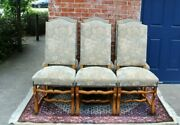 Set Of 6 French Oak Louis Xiv Upholstered Antique Chairs