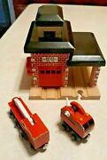Thomas Friends Wooden Railway Sodor Fire Station Dept 36 And 2 Trucks Guc