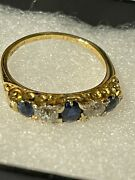 Antique Sapphire Gold And Diamond Ring With Full Valuation Report Of Andpound1850