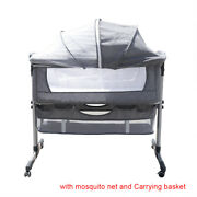 Portable Baby Bed Side Sleeper Infant Bassinet Crib Cot All Round Grey Us Ship