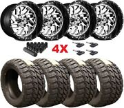 22x14 Fuel Triton Chrome Black Lip Wheels Rims Tires 35 12.50 22 Mt F-250 F-350