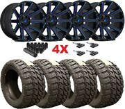 24x14 Fuel Contra Wheels Rims 35 12.50 24 Tires Mt F-150 Black Milled Candy Blue