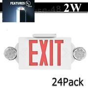 24 Pack Led Exit Sign Emergency Light Andndash Hi Output Red =compact Combo Ul