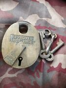 Antique Approved Insurance Heavy Duty Solid Brass Lock Padlock And Key 2andfrac12 X 3andfrac14