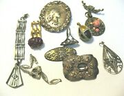 Antique And Vintage Jewelry Lot Of 10 Pieces For Parts Repair Repurposing