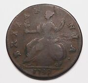 Great Britain 1749 Half Penny Vg-f Very Scarce George Ii Old Uk Bronze Coin